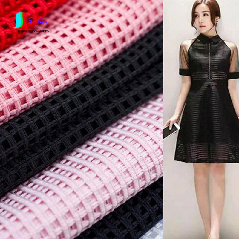 Colorful Large Grid Hollow Perspective Double-sided Air Layer Sandwich Mesh Fabric For Dress/Crisp Clothing,Dress Fabric S0032J