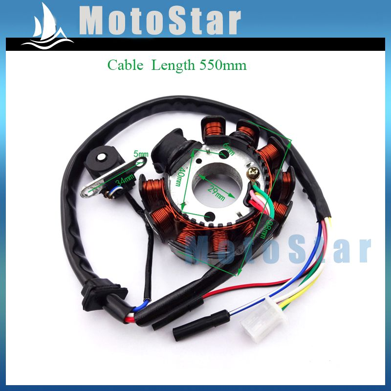 11 Coils Poles Ignition Stator Magneto Rotor For GY6 125cc 150cc Engine Parts Chinese Moped Scooter ATV Quad 4 Wheeler Go Kart(China (Mainland))