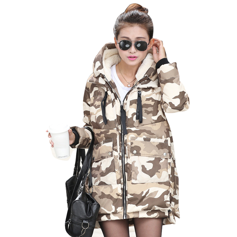 2016 New Winter Women Camouflage Parka Jacket Coat Long Hooded Warm Thick Overcoat Military Design Manteau Femme WWY308 - Queena Bontique store