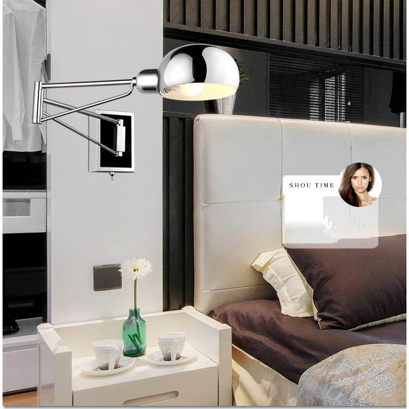 Modern Wall Sconces Bedroom : Free-shipping-bedroom-modern-wall-lamp-Swing-Arm-Wall-Sconce-Bedside-wall-Lighting-Reading ...