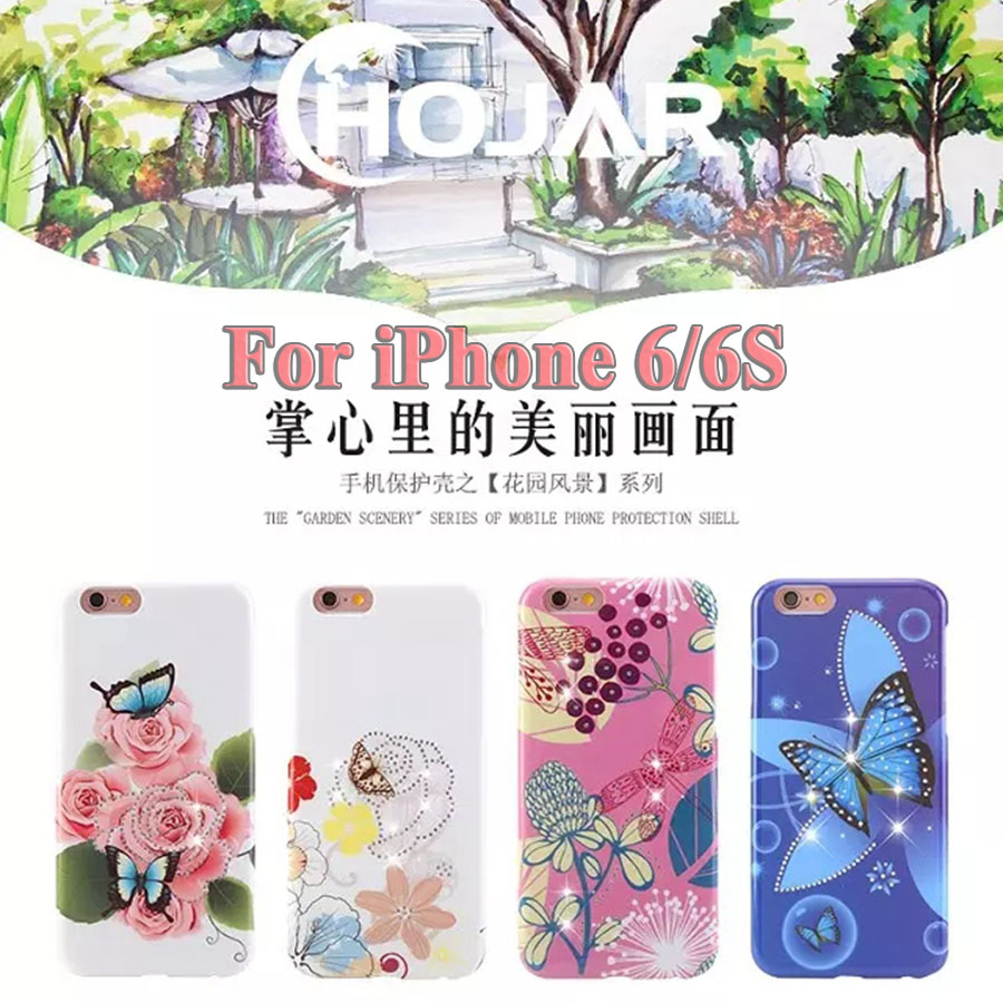 New Arrival Garden Scenery Series of Mobile Phone Protection Shell For iPhone 6/6S With Printing Technology Diamond Design(China (Mainland))
