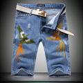 2016 New Designer Embroidery Mens Short High Quality Vintage Ripped Jeans Men Summer Style Denim Pants
