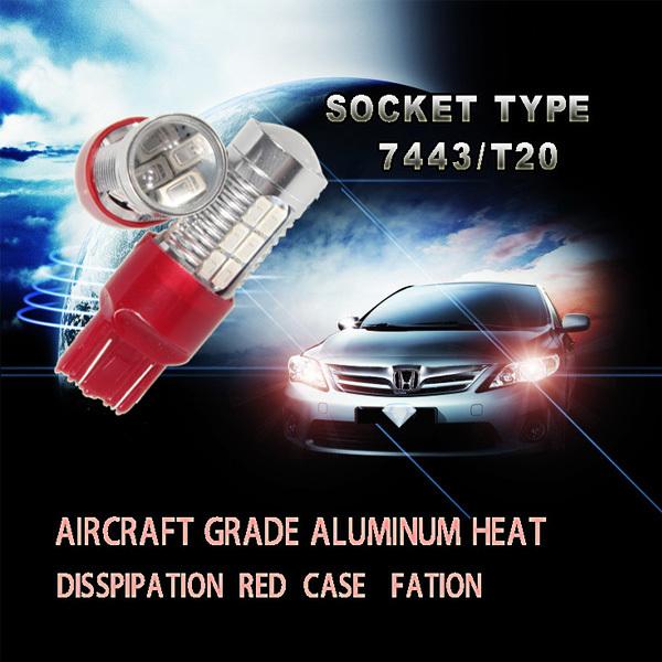 Superbright Red T20 7443 Dual Function 22SMD 5630 LED Simple Retrofit break light/stop blub automobile led blub for Carola(China (Mainland))