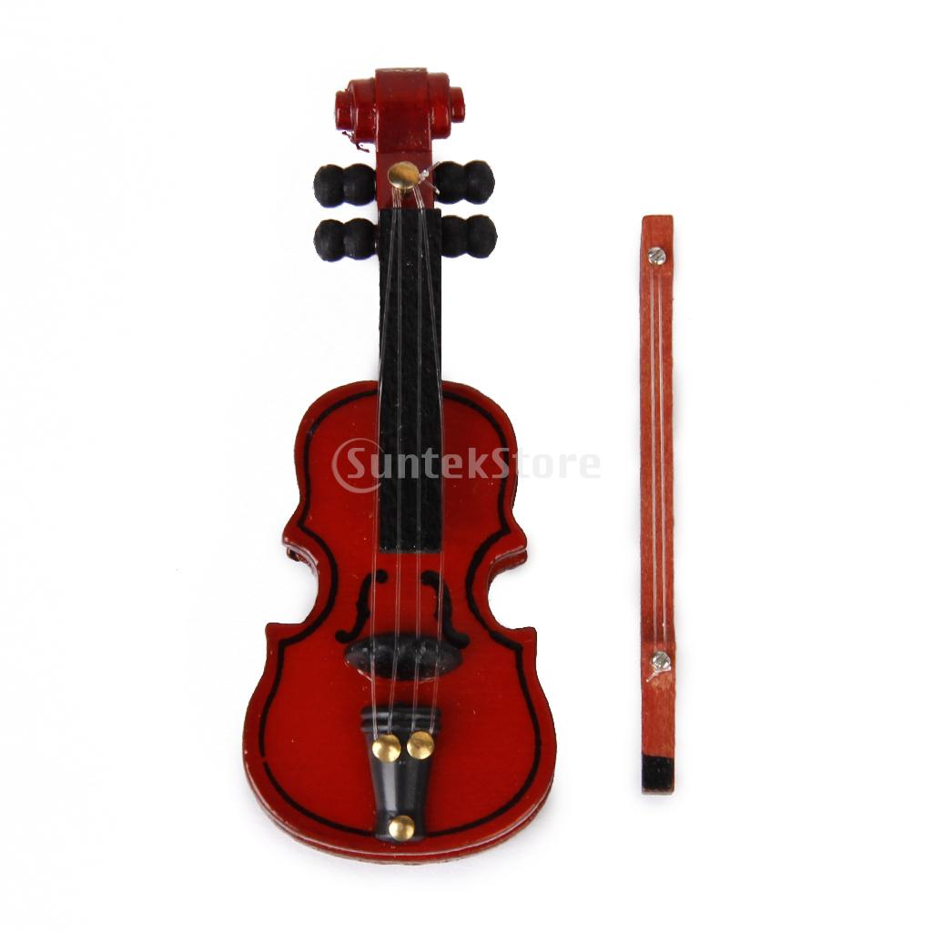 product New 2014 1/12 Dollhouse Miniature Musical Instrument Mahogany Wooden Violin Miniatura Scale Model Violin Christmas Gift for Kids