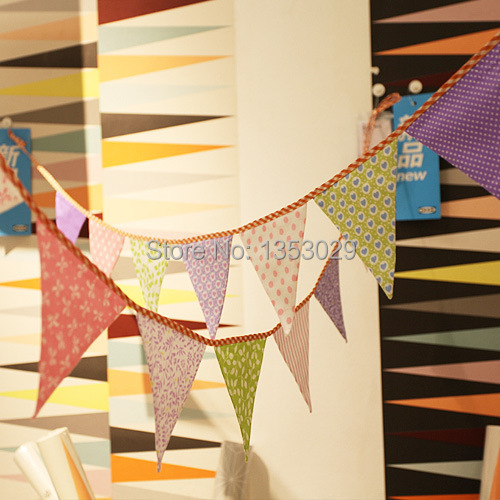 12 Flags Party Flags 2.6 Meters 100% Cotton Fabric Wedding Bunting Banner Garden Garland Decoration Camping Decoration Pennant(China (Mainland))