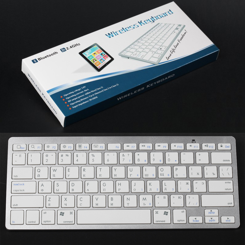 Russian Letter Version Ultrothin Universal Wireless Bluetooth Gaming White Keyboard for Apple iPad 2 3 4 tablet PC Keys Keypad(China (Mainland))