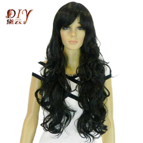 free shipping USPS to USA Russia Fashion Style Women Black Wavy Synthetic Daily Cosplay Long Hair Full Wig + Cap(China (Mainland))