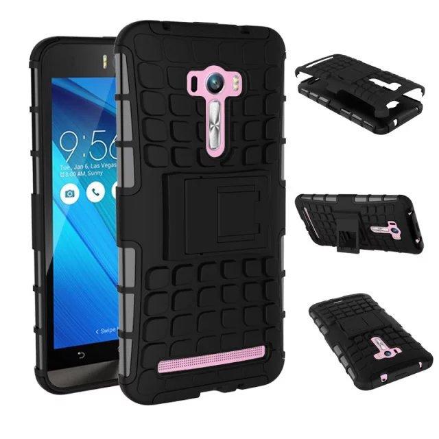Гаджет  For Asus Zenfone Selfie ZD551KL Case 5.5inch Hybrid Kickstand Rugged Rubber Armor Hard PC+TPU 2 In 1 Stand Function Cover Cases None Телефоны и Телекоммуникации
