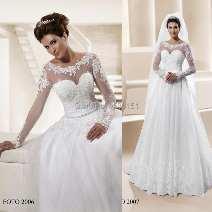 Elegant Brazil Wedding Dresses Line Scoop Appliques Long Sleeve Illusion Floor Length Tulle 2015 Vestidos De Novias