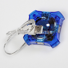 1Pc 4 PORT USB HUB Chic MINI HIGH SPEED For LAPTOP Notebook PC Blue Color(China (Mainland))
