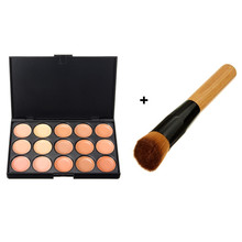 15 Color Concealer + 1Pc Multifunction Makeup Brush Oblique Wooden Handle Mask Powder Facial Face Cream Cosmetic Set Beauty Tool