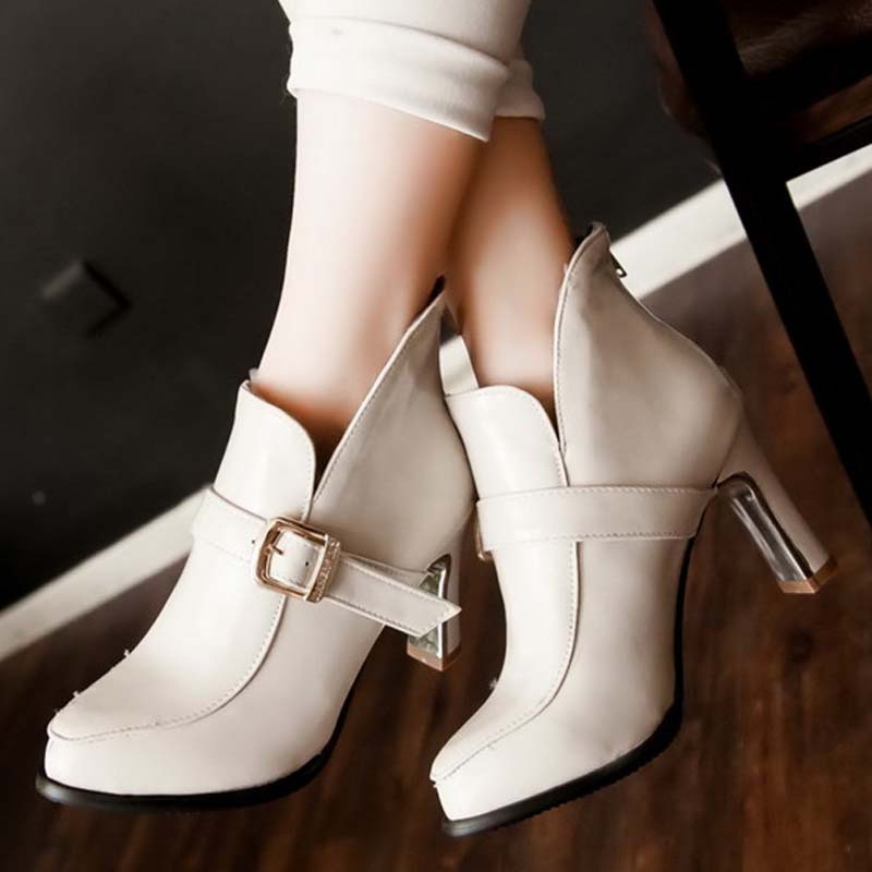 ankle boots high heel shoes short winter fashion sexy warm fur buckle women boot pumps big size34-43 Martin boots shoes <br><br>Aliexpress