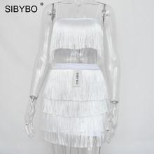 SIBYBO кисточкой без бретелек сексуальный комплект из двух предметов Бандажное платье 2018 красный, белый летнее женское элегантное мини клуб(China)