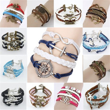 NEW 2014 Girl Jewelry Vintage Braided Anchors Rudder Metal Leather Bracelet Multilayer Rope Bracelets Wholesale Bangle