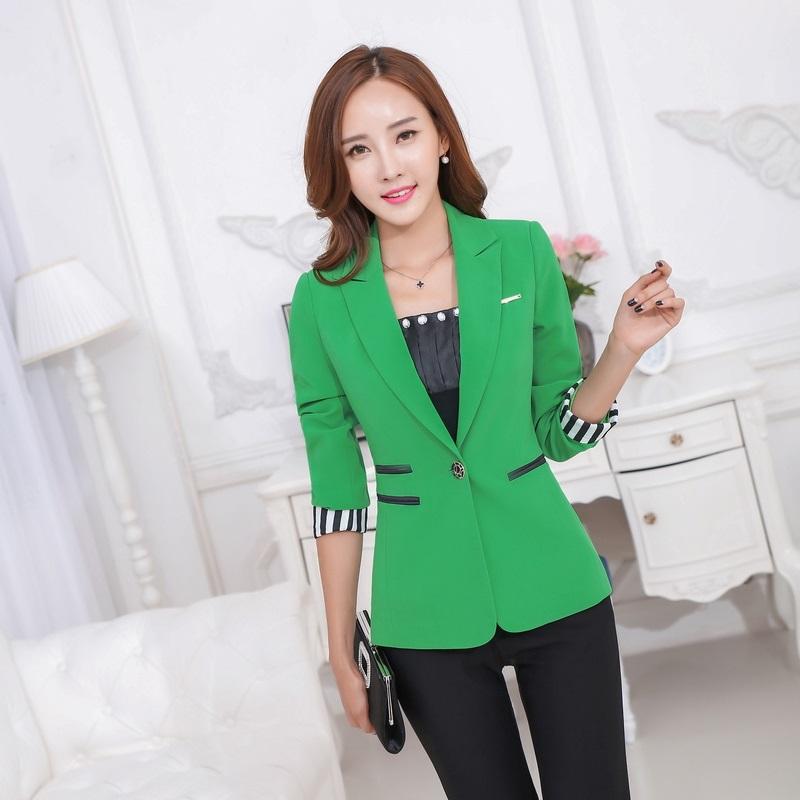 moda femenina verde chaquetas mujeres abrigos chaquetas delgado elegante de las seoras de negocio ropa de