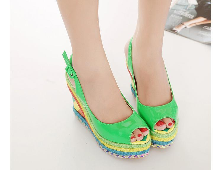 Platform Wedge Peep Toe Patent Leather Shoes Cheap Summer Peep Toe Platform Wedge Shoes Cheap Designer Colorful Green Pink Wedge(China (Mainland))