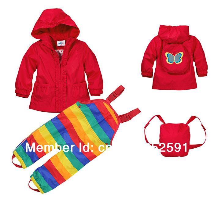 Free Shipping- retail baby girls wind suit jacket & pants,windbreaker /water resistance suit, rainsuit(MOQ: 1 set)(China (Mainland))