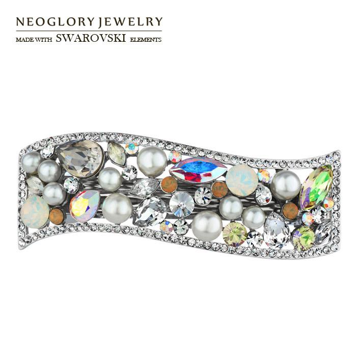 Neoglory MADE WITH SWAROVSKI ELEMENTS Rhinestone & Auden Rhinestone Hairwear Gorgeous Style Jewelry For Women Platinum Plated(China (Mainland))