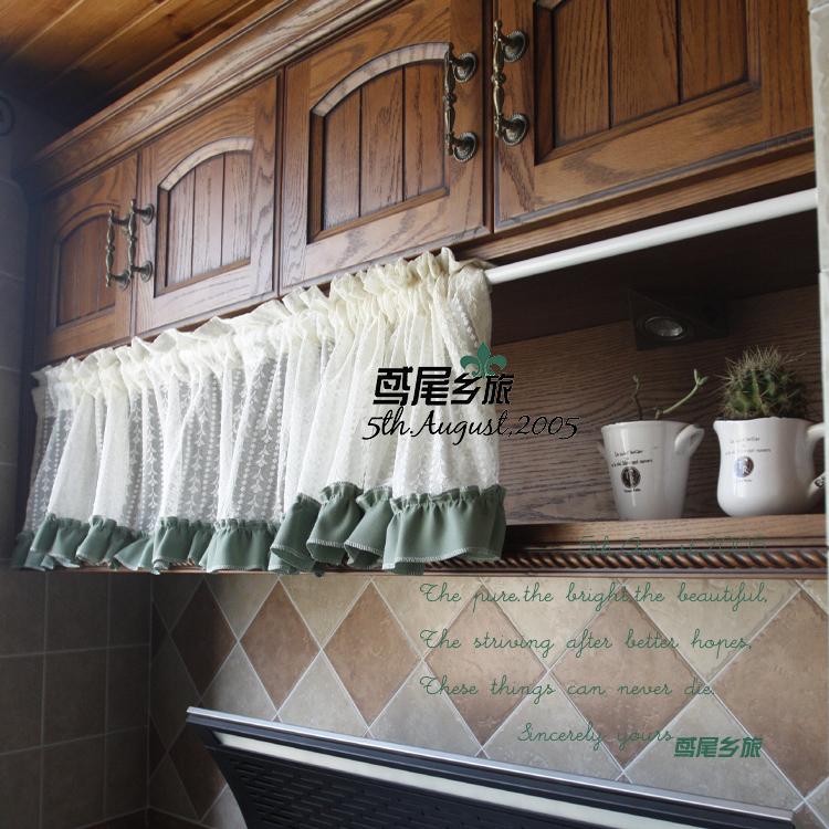 morden rustic Beige gauze flower cabinet bars curtain head curtain