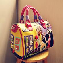 women's bags fashion creative color stitching carton character embossing leather handbag shoulder massenger bags bolsa feminina