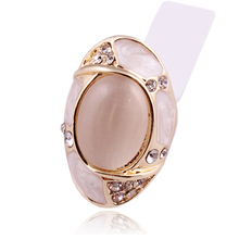 New design high quality luxury 18K Gold Plated Austrian crystals opal Ring(China (Mainland))