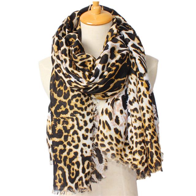 Новая зимняя шарф повелительниц леопарда платок женские обертывания стильные классические мыс 190 * 100 см