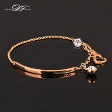 OL Style AAA+ CZ Diamond Fashion Bracelets&Bangles 18K Rose Gold Plated Crystal Vintage Party Jewelry For Women pulseras DFH195M(China (Mainland))