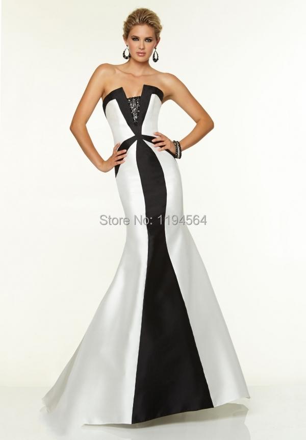 Elegant Party Gowns Mermaid Long Evening Dress 2015 White and Black Vestidos De Fiesta Strapless Beading Satin PE1036(China (Mainland))