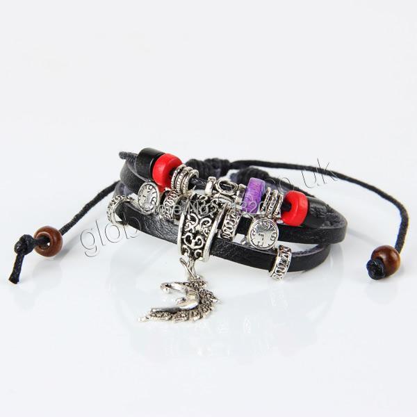 Здесь можно купить  Free shipping!!!Cowhide Bracelet,Punk Style, with Wax Cord & Wood & Zinc Alloy, plated, adjustable & 3-strand, black, 170-240mm  Ювелирные изделия и часы