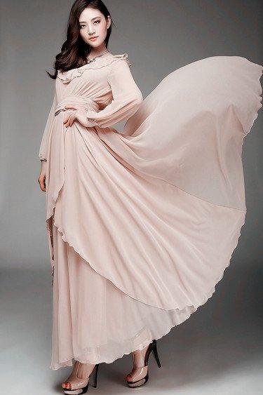plus size long sleeve chiffon dress