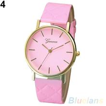 Men's Women's Fashion Geneva Checkers Faux Leather Quartz Analog Wrist Watch 2IAE