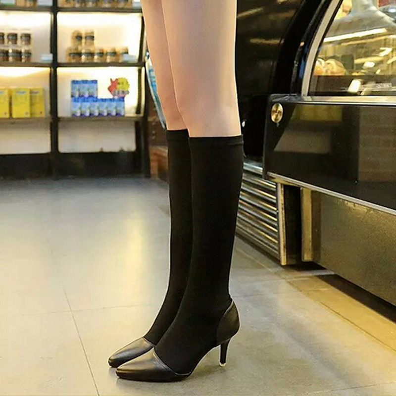 New 2016 Hot Women Boots Winter Knee High Boots Fashion Stretch Soft Leather Long Boots Women Casual Shoes Black 4A(China (Mainland))