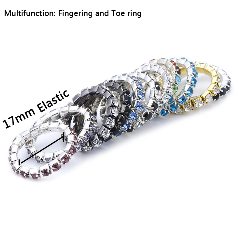 Wholesale 5Pcs/lot Row Crystal Foot Rings for Women Silver Chain Rhinestone Crystal Adjustable Stretch Foot Toe Rings(China (Mainland))