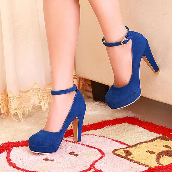 Fashion Sexy Women Pumps Ankle straps Princess Thick Heels Spring Womens single shoes High Heels Platform Round Toe Shoes V739<br><br>Aliexpress