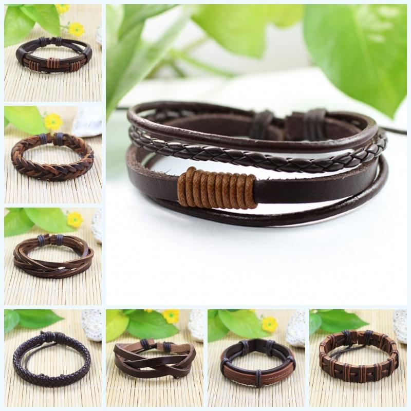 bracelets tribal ethnic handmade charm braided genuine leather bracelet sliding cord men & women - SunFlower Trade Co.,Ltd store