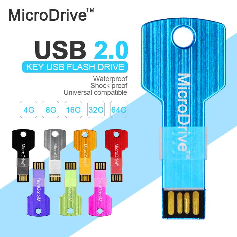 Metal Key USB Flash Drive 64GB 32GB 16GB 8GB 4GB Pen drive Memory Stick U Disk Thumb Drive Pen Drives Pendrive(China (Mainland))