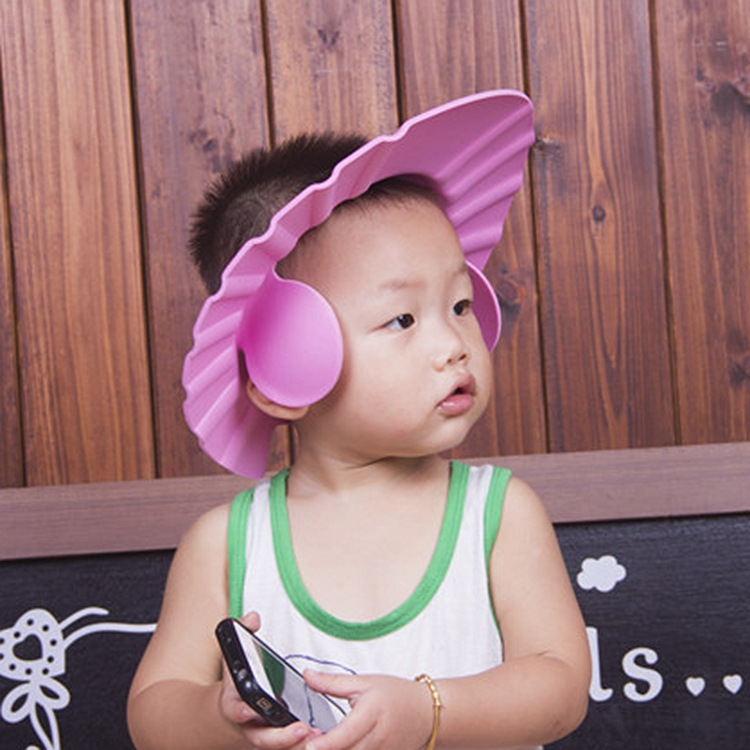 Baby shampoo infants with ear models can be adjusted shampoo cap children haircut bath shower cap with packaging(China (Mainland))