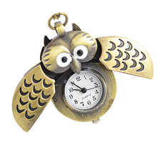 Hot Cartoon Retro Bronze Owl Pocket Watch Sweater Chain Necklace Slide Watch Lovely Animal Design Fob Watches for Kids and Adult(China (Mainland))