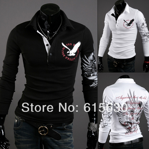 Drop Shipping Mens slim fit casual long sleeve polo shirts stylish unique v neck X-201 - working for best store