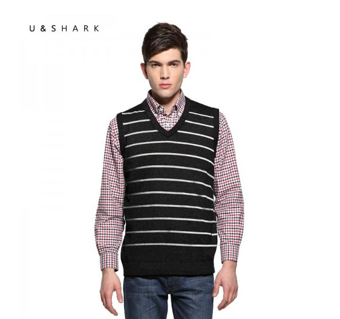 2016 Mens' New Brand U-SHARK Pullover Sweater Vest V-Neck Cotton Knitted Business Fashion Slim Striped Male cashmere vest(China (Mainland))