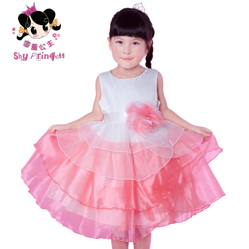 Princess red children's clothing child formal dress princess dress one-piece dress(China (Mainland))