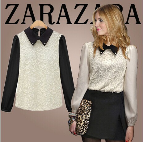 Spring new women doll collar long-sleeved lace chiffon shirt bottoming blouse - Online Store 923589 store