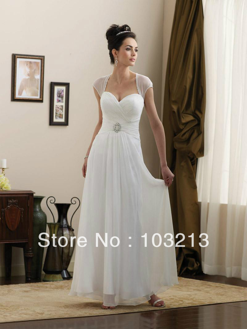 Beautiful simple sheer straps a line wedding dresses in for Plain wedding dresses with straps
