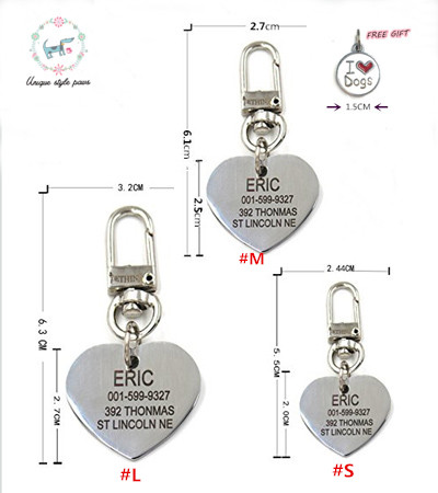 Free engraving text on front and back sides stainless steel pet dog tag customized name address telephone free pendant(China (Mainland))