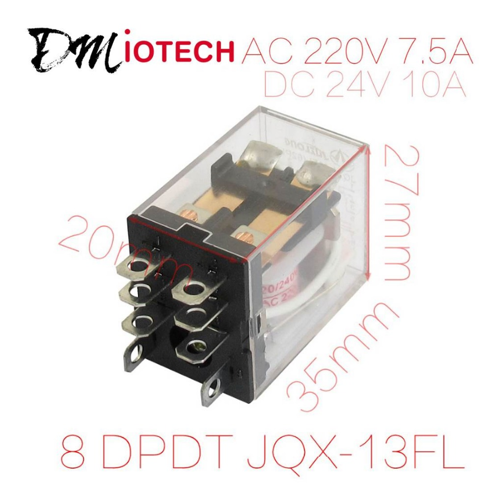 AC 220V/240V Coil 8 Pin DPDT Power Electromagnetic Relay 220VAC 7.5A 24VDC 10A Discount 50(China (Mainland))