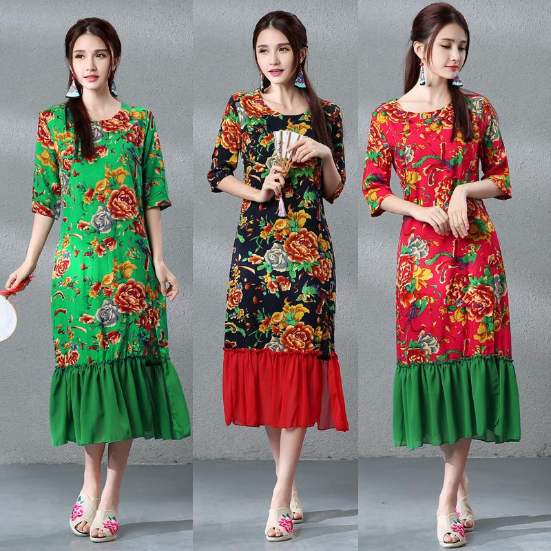 Chinese Folk Style Women Dress Print Cheongsam Surplice Straight O-neck Natural Summer Dresses Women Dress 2016 Desigual(China (Mainland))