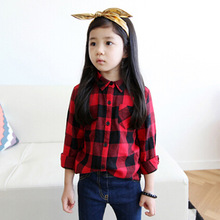 2016 Spring Autumn Casual Kids Blouse Shirts Children Girls Boys Long Sleeved Classic Red Plaid Shirts Baby Girl Cotton Clothes