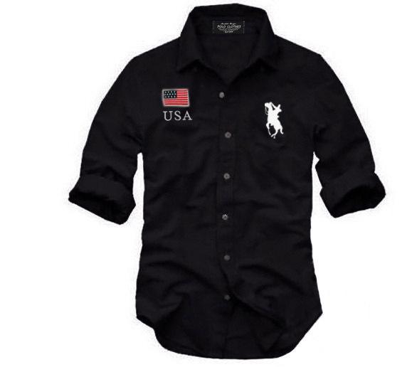 2015 new brand flag logo Men's shirts Long sleeve dress shirt men High quality autumn solid casual formal shirts for man(China (Mainland))