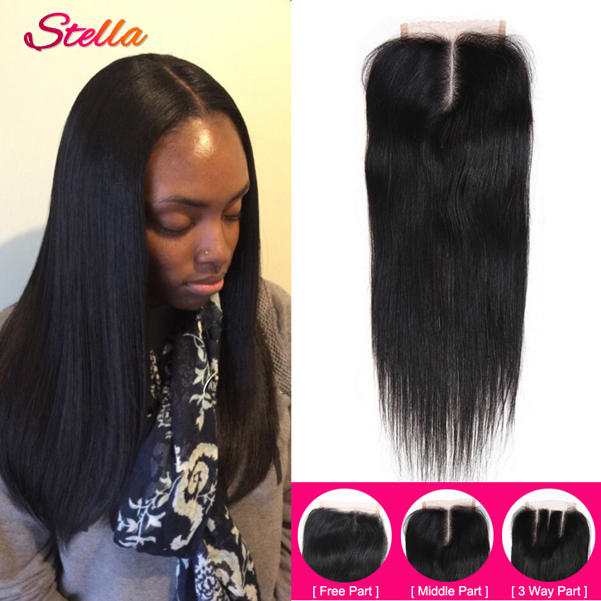 4*4 Virgin Brazilian Straight Lace Closure Bleached Knots Cheap Unprocessed Human Hair Middle Part closures Free Shipping<br><br>Aliexpress
