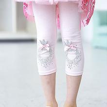 2016 Girls Summer Cotton Leggings Baby Girl Calf-length Bow Leggings Pants Kids Lace Pearl Pants Children's Clothing Pink/ White